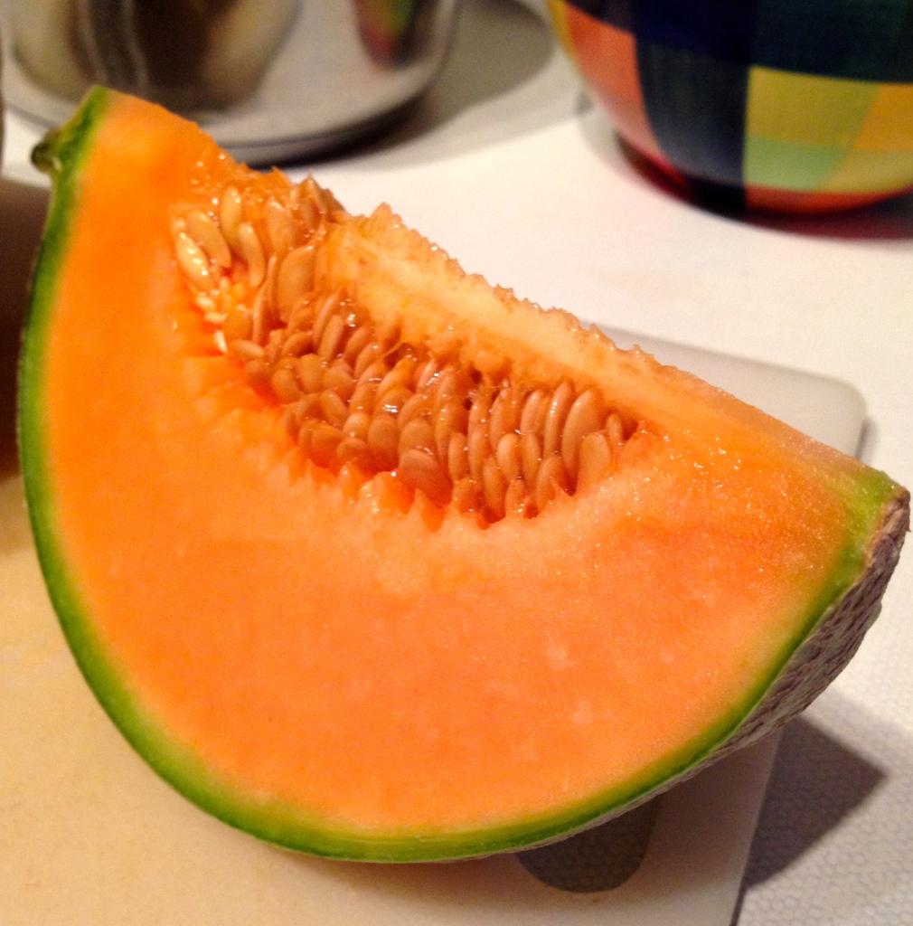 Cantaloupe melon slice, full of betacarotene