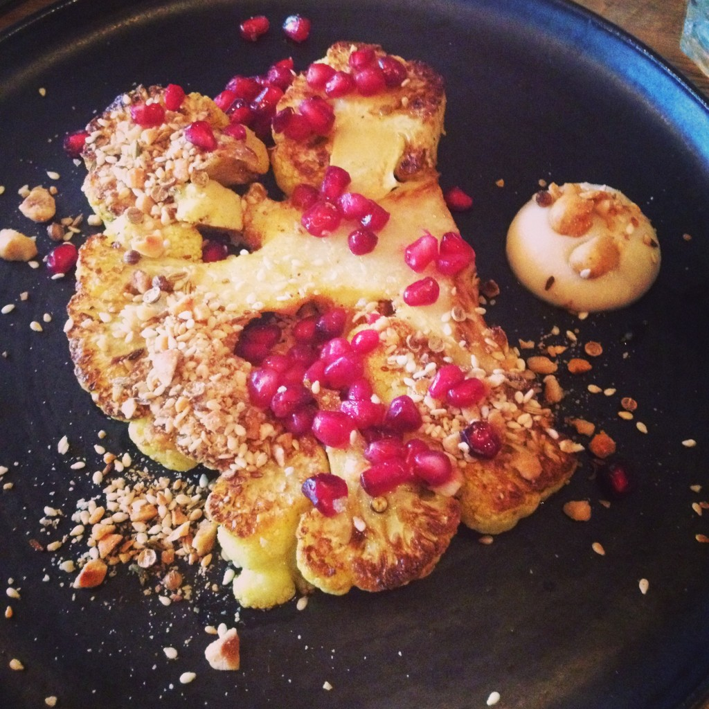 Roasted cauli with pomegrante and hazelnut