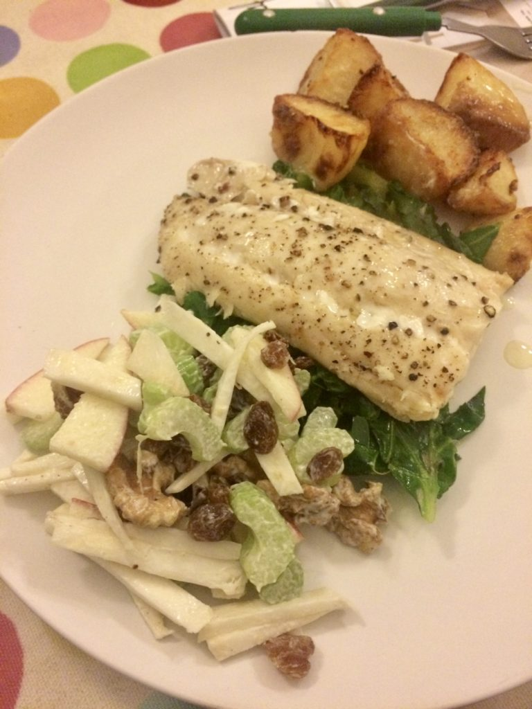Roasted white fish and potatoes